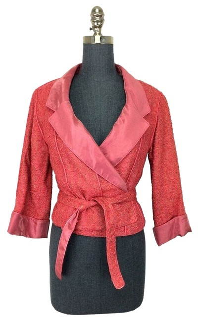 Chanel Chanel Coral Wool Tweed Cropped Wrap Jacket Skirt Suit