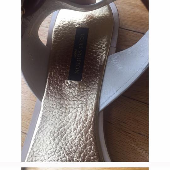 Louis Vuitton White, Gold Sandals