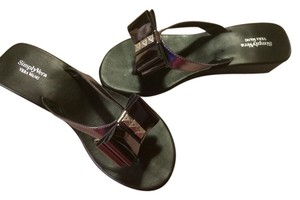Vera Wang Simply 7.5 Bows Flats Summer Black & Silver Sandals
