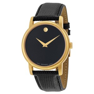 Movado Movado Museum Black Dial Black Leather Mens Watch