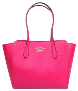 Gucci Leather Small Swing Tote in Hot Pink