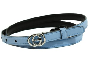 Gucci GUCCI 370552 Interlocking G Skinny Leather Belt, Blue 90-36