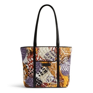 Vera Bradley Cotton Leather Tote in PAINTED FEATHERS