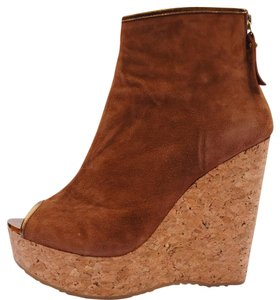 Jimmy Choo Suede Gold Hardware Wedge Cork Tan Boots