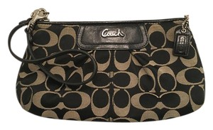 Coach Large Leather Wristlet in Black