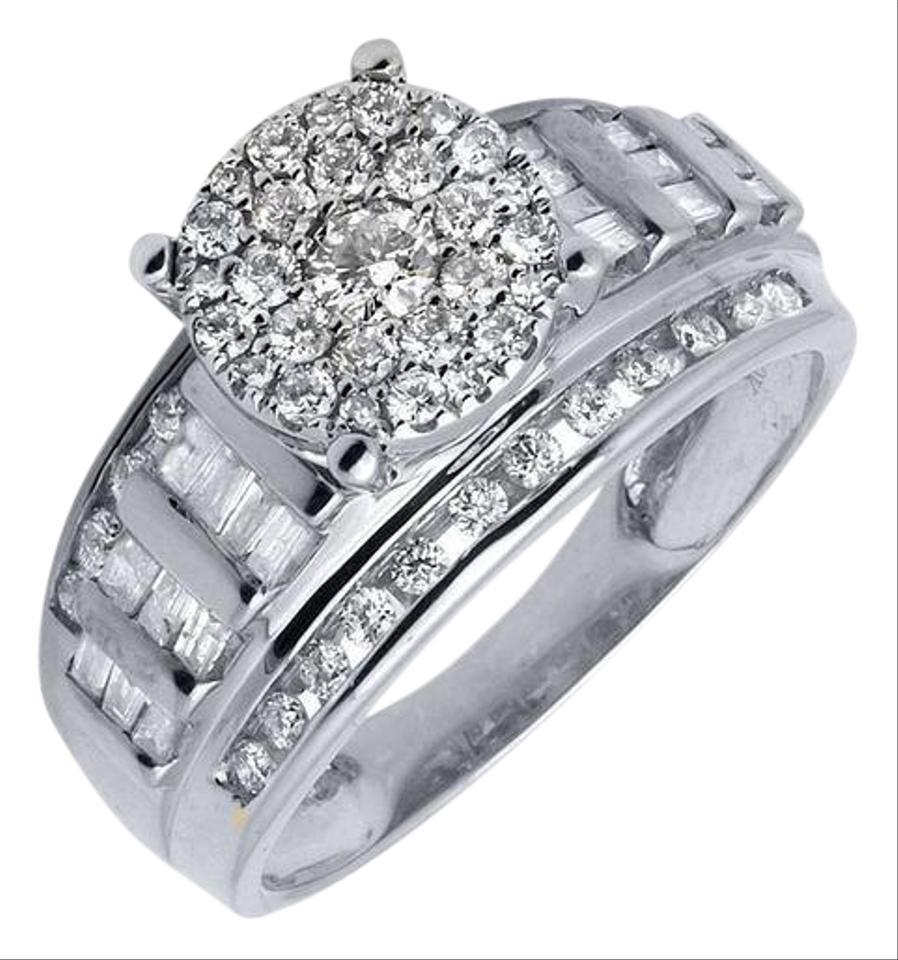 10k White Gold Flower Round Cut And Baguette Diamond Engagement 10