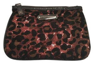 Betsey Johnson Leopard Sequin Studded Cheetah Brown Clutch