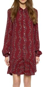 Free People short dress Red Fp Swingy Tunic Raw Floral Mesh Boho Festival Chic Bell Sleeve Ruffle Button Down L/s on Tradesy
