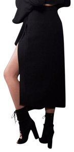 Kendall + Kylie Wrap Front Skirt Black