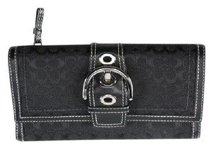 Coach Coach Signature Trifold Wallet with Buckle