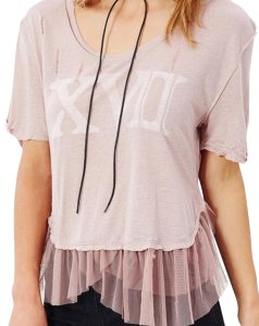 Free People Graphic Tulle Trim Tutu Hem Slouchy Shirttial Hem T Shirt NWT Mauve