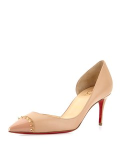 Christian Louboutin Studded Red Leather Heels Nude Pumps