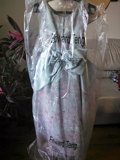 Sage & Pink Satin with Organza Overlay Junior Traditional Bridesmaid/Mob Dress Size Petite 0 (XXS)