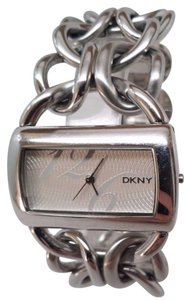 DKNY Wom en's Watch NY4367 Silver Stainless Steel Wide Bracelet Minor Scratches