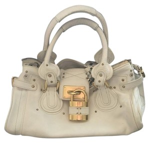 Chloé Satchel in white with gold accents