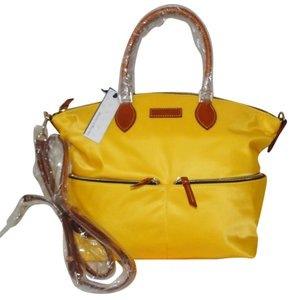 Dooney & Bourke Nylon Yellow Pocket Large Leather Trim Satchel in Lemon