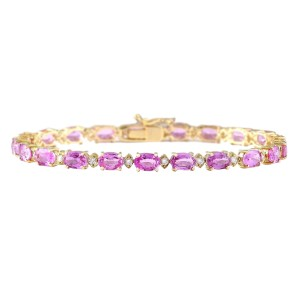 Fashion Strada 14.92 CTW Natural Sapphire And Diamond Bracelet In 14k Solid White Gol