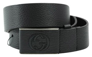 Gucci GUCCI 368188 Unisex Leather Covered Plaque Buckle Belt, Black 95-38