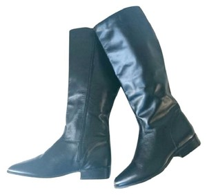 Fanfares Leather Knee High Riding Black Boots