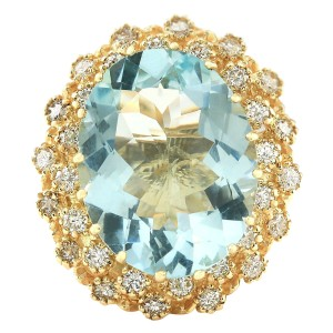 Fashion Strada 10.28 CTW Natural Aquamarine And Diamond Ring In 14k Yellow Gold