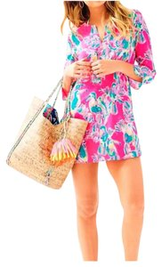 Lilly Pulitzer short dress Dragon Fruit Resort White Floral Floral Tunic on Tradesy