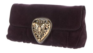 Gucci Gg Babouska Heart Embellished Purple, Gold Clutch