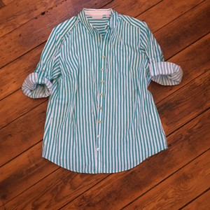 New York & Company Button Down Shirt teal