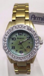 Armitron Ladies Green Diamond Watch CASE BACK MISSING!!