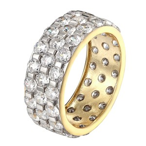 Other Designer 925 Sterling Silver Round Cut Simulated Diamond Gold Tone