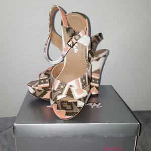 Herstyle Pink/Green Tribal Print Wedges
