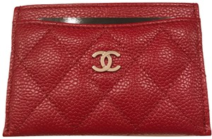 Chanel Chanel Card holder with silver hardware/ caviar leather (Red)