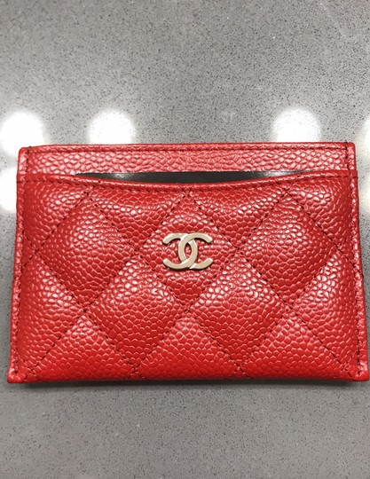 Chanel Chanel Card holder with silver hardware/ caviar leather (Red) Image 1