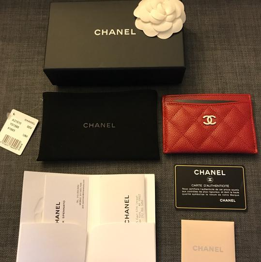 Chanel Chanel Card holder with silver hardware/ caviar leather (Red) Image 11