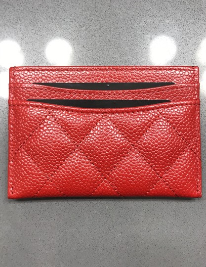 Chanel Chanel Card holder with silver hardware/ caviar leather (Red) Image 2