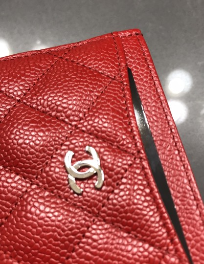 Chanel Chanel Card holder with silver hardware/ caviar leather (Red) Image 3