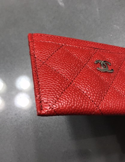Chanel Chanel Card holder with silver hardware/ caviar leather (Red) Image 7