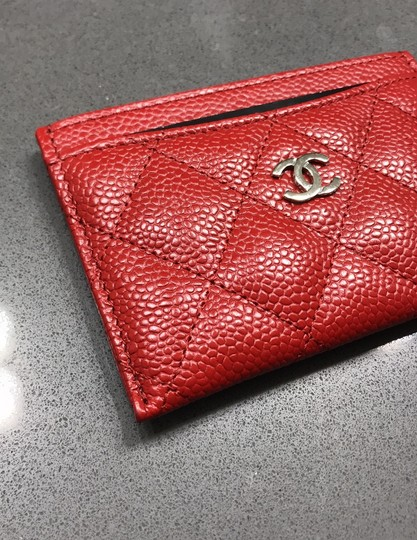 Chanel Chanel Card holder with silver hardware/ caviar leather (Red) Image 8