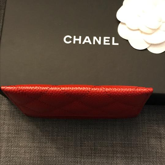 Chanel Chanel Card holder with silver hardware/ caviar leather (Red) Image 9