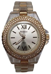 Armitron Ladies 75/3935WTTO Gold Tone Crown Clear Band And Diamond Accent
