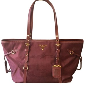 Prada Saffiano Neverfull Gold Hardware Nylon Tote in Burgundy