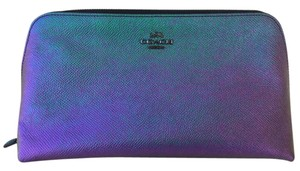 Coach Cosmetic Case 22 Style 64719 in Hologram Crossgrain Leather