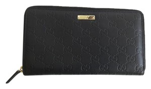 Gucci Gucci Zip Around Large Wallet Black GG Monogram Silver Hardware