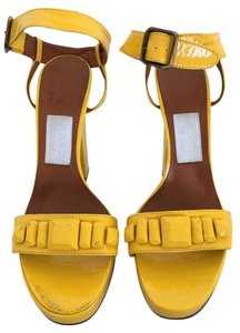 Lanvin Patent Leather Ankle Strap Yellow Sandals