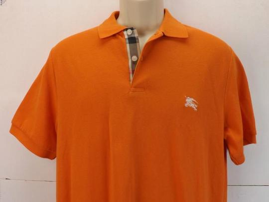 Burberry Brit Orange Check Buttons Polo Cotton Sleeves Shirt
