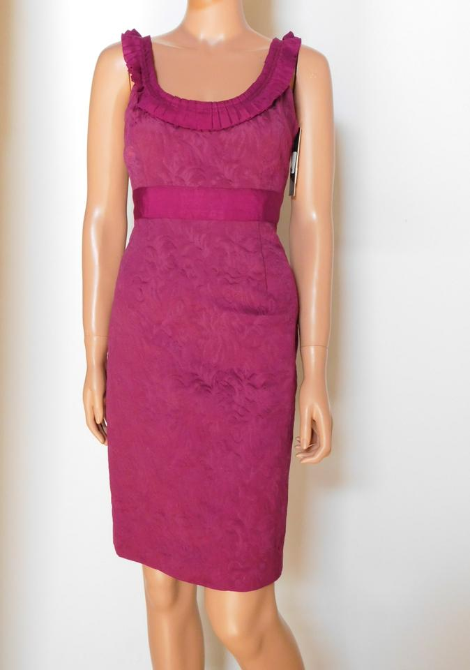 a60e6cf75cb Antonio Melani Fuschia Brocade Sleeveless Sheath Short Cocktail Dress Size  6 (S) - Tradesy