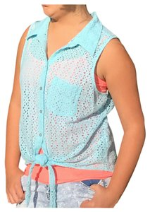 Guess Baby Eyelet Lace Vintage Tie-front Sleeveless Top Blue
