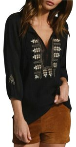 Joie Embroidered Longsleeve Gauze Airy Top Black
