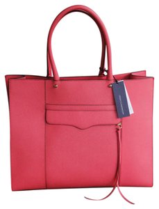 Rebecca Minkoff Mab Morning After Orange Leather Tote in Coral