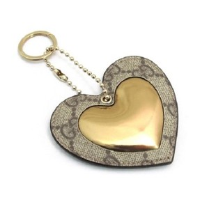 Gucci Coated GG Canvas Gold Leather Heart Shaped Key Chain 2 254949 9774