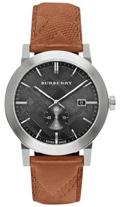 Burberry NEW MENS BURBERRY (BU9905) THE CITY BROWN LEATHER STRAP SILVER WATCH
